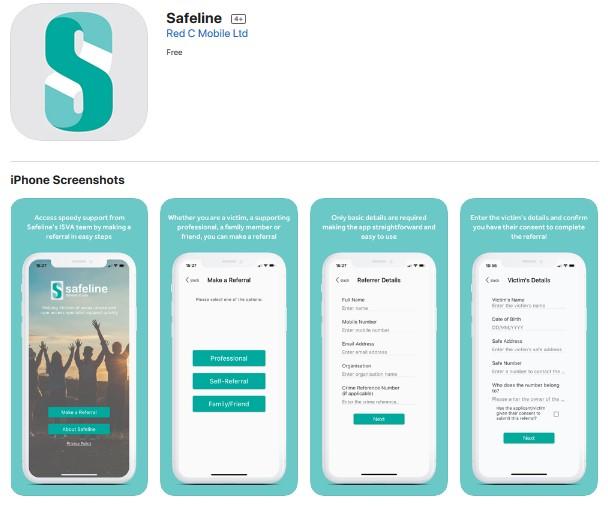 Screenshot of Safeline on the app store